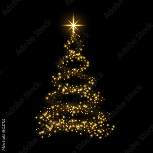 Christmas Tree Card Background Gold Christmas Tree As Symbol Of