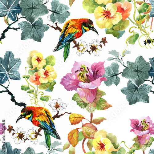 Fotobehang Papegaai Watercolor hand drawn seamless pattern with beautiful flowers and colorful birds on white background.