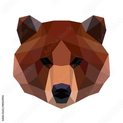 Valokuvatapetti Vector polygonal bear isolated on white.