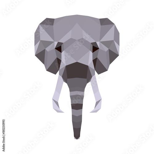 Valokuvatapetti Vector polygonal elephant isolated on white
