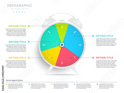 Alarm Clock 5 Step Business Process Pie Chart Infographics Creative