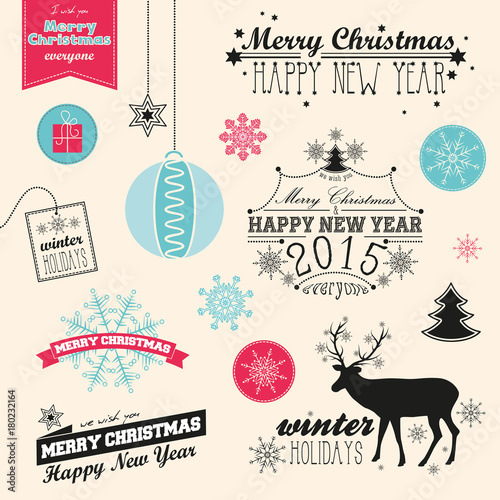 vector christmas and new year set use for banner postcard invitation poster