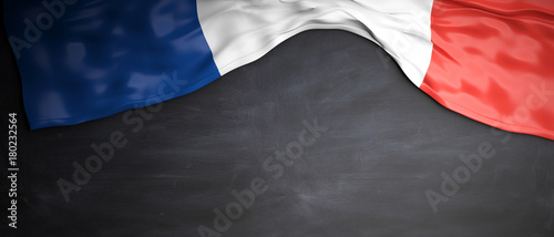France flag placed on blackboard background with copyspace Fototapeta