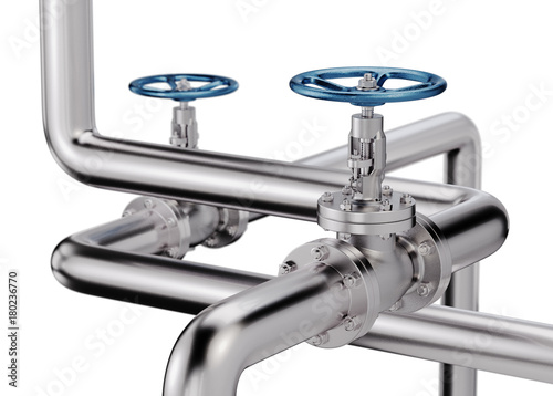 Foto Pipes with Valves Industrial Background. 3D illustration