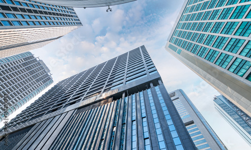Skyward view of skyscrapers, business and corporate concept