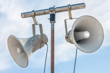 Closeup Of An Outdoor Event Public Address Speakers