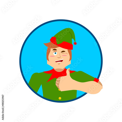 elf santa helper thumbs up and winks emoji new year and christmas vector illustration