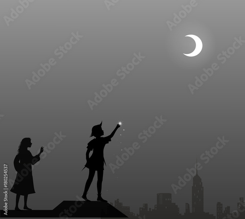 Peter Pan and Wendy on the roof, couple, Wallpaper Mural