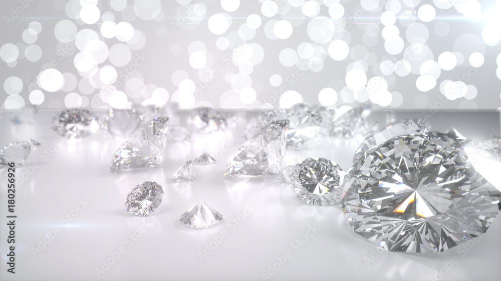 Fototapeta Many diamonds on glossy surface. 3d render