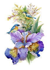Fototapeta Egzotyczne Summer watercolor flowers and birds on white background.