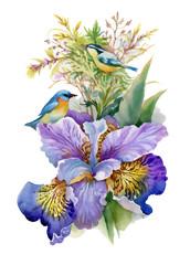 Naklejka Egzotyczne Summer watercolor flowers and birds on white background.