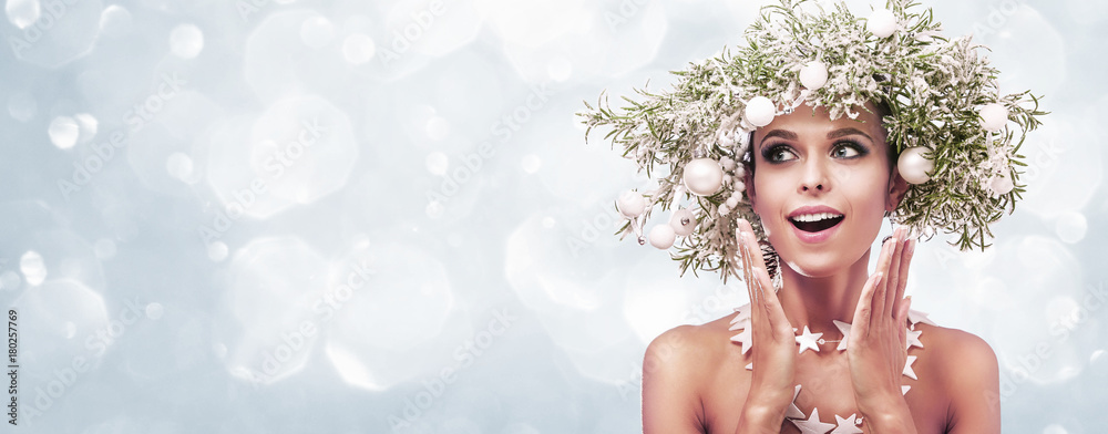 Fototapeta Beauty Fashion Model Girl with Fir Branches Decoration