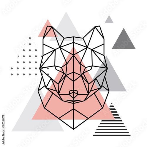 Geometryczna głowa wilka na skandynawskim tle. Styl Scandi.