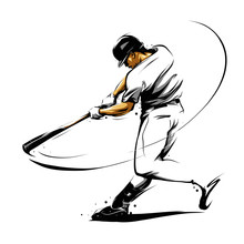 Baseball Player Hitting Ball S...