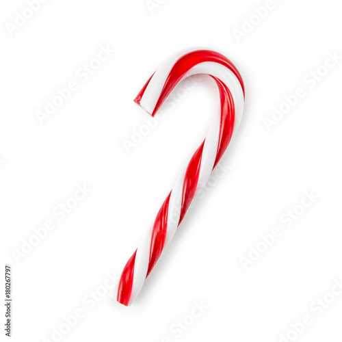 Fotografiet candy cane striped in Christmas colours isolated on a white background