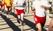 High school boys racing cross country over a bridge