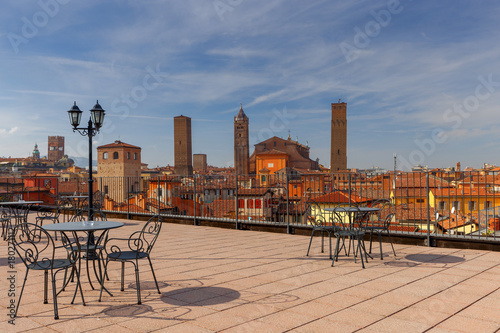 Stampa su Tela Bologna. Aerial view of the city.