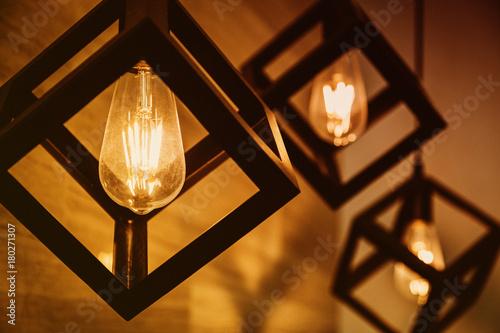 modern pendant light with vintage light bulb Wallpaper Mural