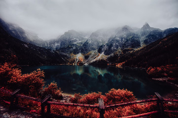 Fototapeta Do biura autumn view of Morskie Oko lake, Zakopane in Poland