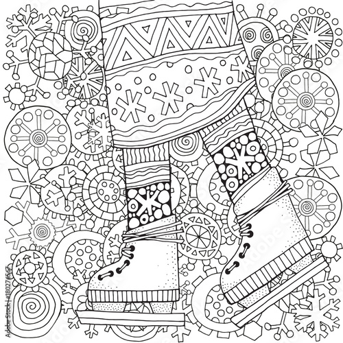 Winter girl on skates. Winter snowflakes. Adult Coloring book page