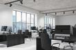 Concrete open space office interior side