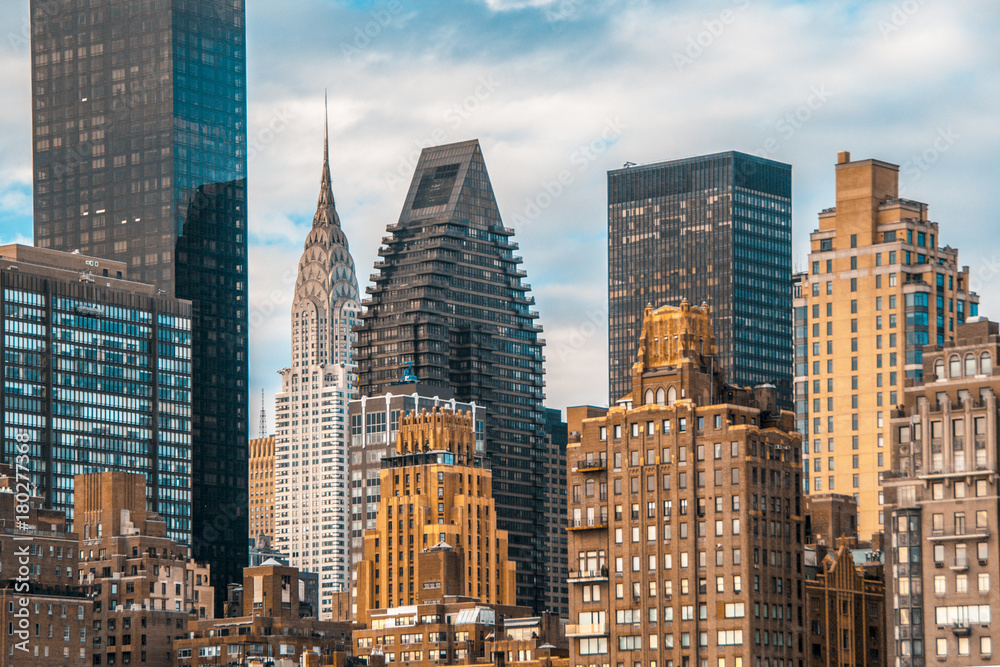 Fototapety, obrazy: Teal and orange mood of Manhattan and East river