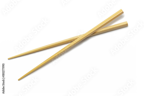 Wooden Chopsticks isolated on white background. Asian Food Chopsticks