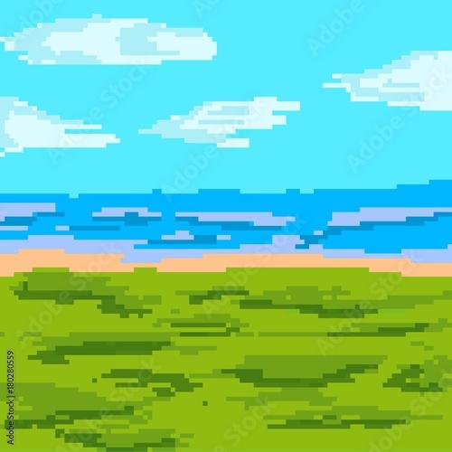 Spoed Foto op Canvas Turkoois landscape nature pixel art