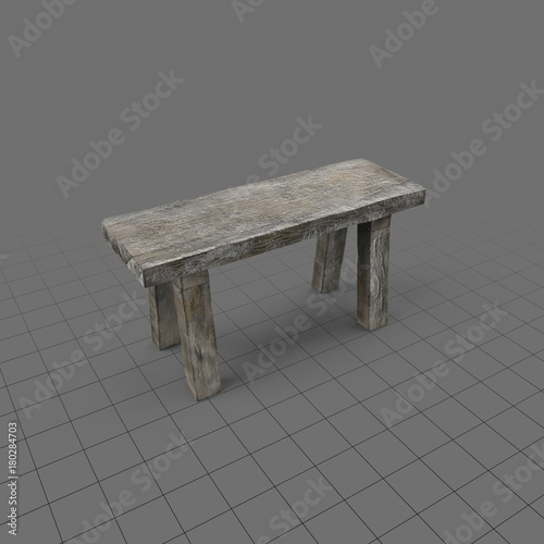 Old rustic bench  Buy this stock 3d asset and explore similar assets