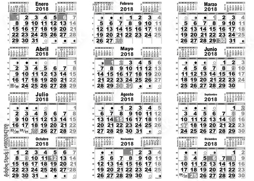 Calendario Con Santos.Calendario 2018 Santos Lunas Espana Buy This Stock Vector And