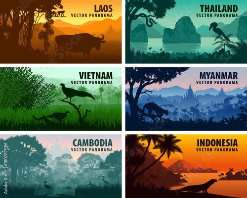 Fotografia  Vector panorama of Laos, Vietnam, Cambodia, Thailand, Myanmar, Indonesia
