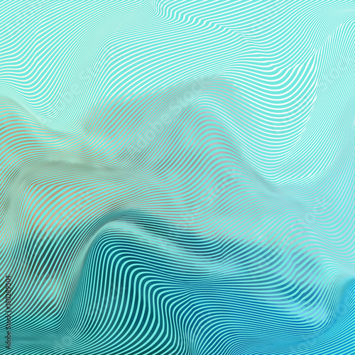 Fotografie, Obraz  Vector warped lines colorful background