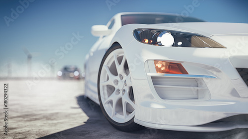 Poster Glisse hiver Modern car front is on the street. 3d rendering and illustration.
