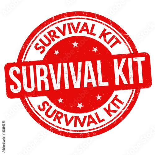 Obraz na plátně Survival kit grunge rubber stamp