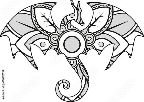 Vector illustration of a mandala dragon silhouette buy this stock vector and explore similar - Mandala de dragon ...