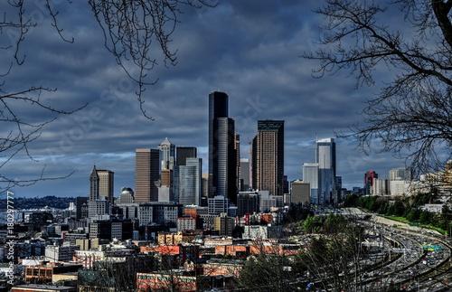 Obraz na dibondzie (fotoboard) Pochmurny Seattle Cityscape