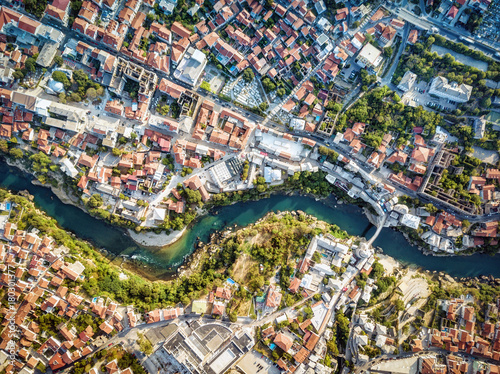 Foto op Canvas Australië Mostar Drone Aerial, Bosnia and Herzegovina