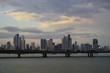 A twilight view of Cinta Costera and modern Panama City skyline, Panama