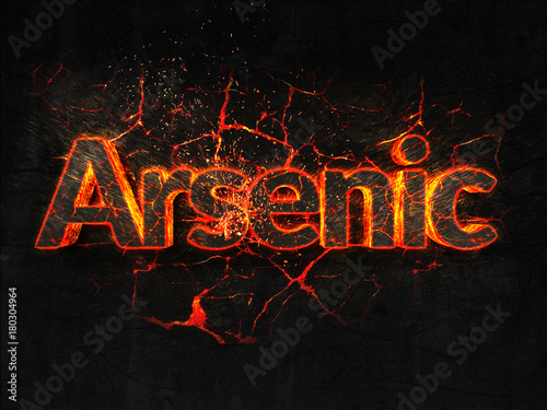Photo Arsenic Fire text flame burning hot lava explosion background.