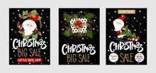 Set Christmas Sale Card With Santa Claus And Hand-drawn Lettering Text