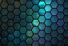 Abstract Geometric Texture With Blue And Green Sparkles. Fantasy Hexagonal Fractal Design. Digital Art. 3D Rendering.