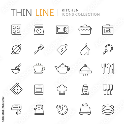Fototapeta Collection of kitchen thin line icons obraz