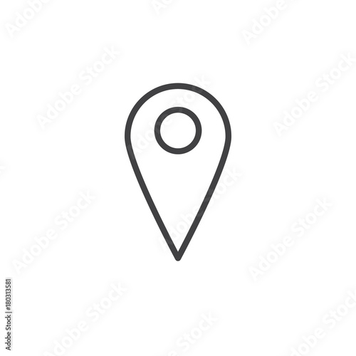 Map pin line icon, outline vector sign, linear style pictogram ... Direction Symbol On Map on