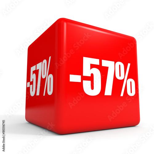 Fotografie, Obraz  Fifty seven percent off. Discount 57 %. Red cube.