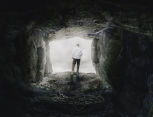 Man Is Going Out Of Cave-Deliverence Christian Concept