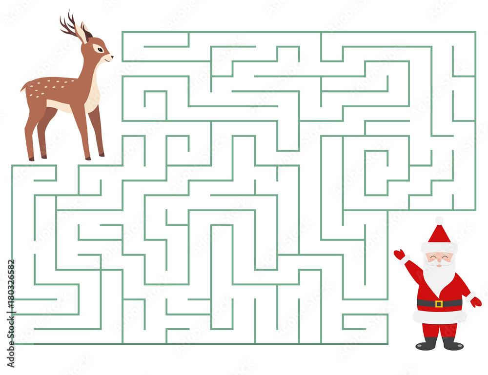 Fototapeta Christmas maze game for kids. Cartoon characters. Help deer find Santa Claus. Vector illustration.
