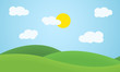 Flat design grass landscape with hills, clouds and glowing sun under blue sky