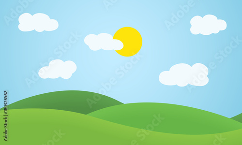 Fototapeta Flat design grass landscape with hills, clouds and glowing sun under blue sky obraz
