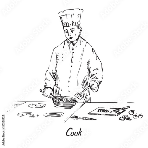 Keuken foto achterwand Art Studio Cook at work, stir vegetables in a frying pan, hand drawn doodle, sketch in pop art style, black and white vector illustration
