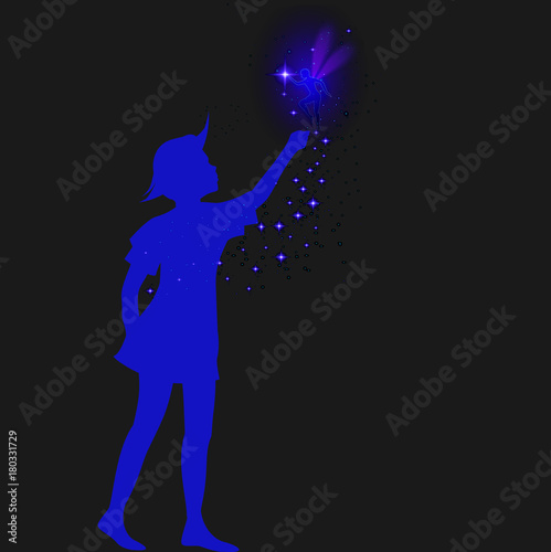 peter pan silhouette with fairy and blue sparckle, Fototapet